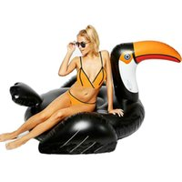 Wholesale 190cm Black Giant Inflatable Woodpecker Pool Float For Adult Outdoor Water Sports Swimming Swan Floats with DHL