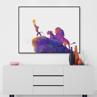 baby pictures movies - Watercolor Cartoon Pop Movie Animals Lion King Canvas A4 Art Print Poster Wall Pictures Kids Baby Room Deocr Painting No Frame