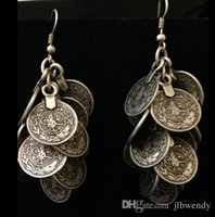 african coins - Bohemian style carving flower Coin Statement dangle Earring ethnic gypsy beach india african stone jewelry