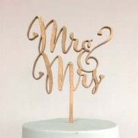 Wholesale quot Mr and Mrs quot Antic Rustic Wedding Cake Topper Laser Cut Wood letters Wedding Cake Decorations Favors Supplies Engagement Gifts