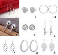 Wholesale 50pcs E1 Christmas gift silver fashion Earrings Women Supplies Fashion Jewelry Charm Stud Earrings beautiful Christmas gift