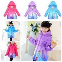 Wholesale Kids Long Down Coat Cinderella Parkas Girls Cotton Padded Clothes Winter Outwear Hoodies Winter Jackets Outwear KKA530