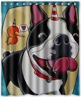 Wholesale Custom Creative Home Ideas Cool design Boston Terrier Bathroom Waterproof Polyester Fabric x180cm Shower Curtain