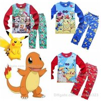 baby pajamas - Poke Kids Pajamas Sets Cotton Cartoon Long sleeve Tops pants Homewear Suit paw patrol Snow Slide Clothes Children Baby Boys Girls Clothing
