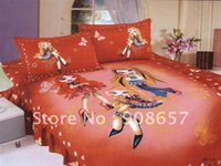 Wholesale Single duvet quilt covers Premium Cotton red beautiful girl cartoon pattern Children s girl s bedding sets with sheets bed linen