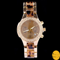 accent stainless steel - Luxury Brand Women Rhinestone Watch Quality Ladies Two Tone Strap Quartz Parker Brown Crystal Accented Timepieces