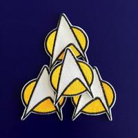 achat en gros de transferts tshirt-GP-59 vente chaude! Vente en gros 5 * 6cm STAR TREK patches Star Fleet Iron / Coudre Patch T-shirt TRANSFERT MOTIF APPLIQUE Punk Rock Badge