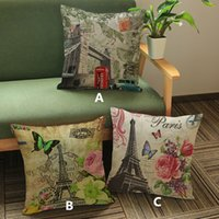 big red sofa - Vintage Paris tower Big Ben Butterfly Palm Tree Cartoon creative printed pillow Home Sofa cushion linen comfortable cushion cover cm