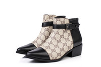 Wholesale Women s Low Heel Pointed Toe Ankle Buckle Print Leather Ankle Boots
