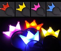 Wholesale New LED flashing mickey bands crown hair bands flash hairpin headband halloween LED light up toys
