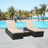 Wholesale Outdoor Patio Rattan Wicker pc Chaise Lounge Chair with Table PE balcony Outdoor rattan wicker chaise longuer Beach lying chair bed