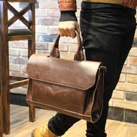 Wholesale New office men vintage crazy horse Genuine Leather Handbags Casual Business Laptop Shoulder Bags Briefcase Messenger bag