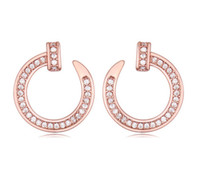 copper nail - AAA Cubic Zirconia Earrings Jewelry Women Brand New Fashion Luxury K Gold Plated Alloy Circle Nail Stud Earrings TER007