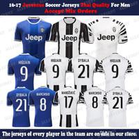 Wholesale 16 Men Juventus Soccer Jersey Thailand Quality DYBALA HIGUAIN BUFFON MARCHISIO KHEDILA PJACA Custom Home Away Uniforms