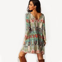 aztec dress - SheIn Vintage Online Shop Clothing Brand Casual Women Crew Neck Aztec Print V Back Shift Long Sleeve Loose Tunic Dress