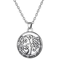 antique gold tone - Mom You Are The Heart of Our Family Antique Silver Tone Tree of Life Round Shape Pendant Necklace for Mother