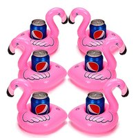 Wholesale Mini Flamingo Floating Inflatable Drink Botlle Holder Lovely Pink Floating Bath Kids Toys Gift For Kids