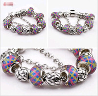 azure jewelry - Hot sale Couples Bracelet Large Hole Round Beads Beaded Crystal Azure stone DIY Jewelry Lover Bracelets Wristbands Piece