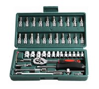 Wholesale 46pc Spanner Socket Set quot Car Repair Tool Ratchet Wrench Set Cr v hand tools Combination Bit Set Tool Kit H210606