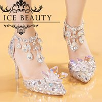 colored rhinestones - Cinderella Buckle Strap Colored Crystal Rhinestone Wedding Shoes High Heels CM Pointed Toe Women Pumps Party Brial Gown