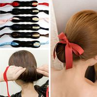 Calidad de las mujeres espuma de la magia dispositivo de pelo esponja Donut Quick Desordenado Bun Updo Headwear Accesorios para el cabello Curls Tool DIY