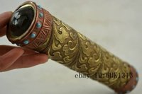 antique kaleidoscope - Collectibles Old Decorated Handwork Copper Inlay Turquoise Beads Kaleidoscope D8