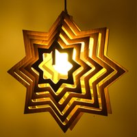 art geometric shapes - Modern Vintage Pendant Light Wooden Star Shaped Lamp Retro Industrial Lighting Geometric Hang Lamps For Dining Kitchen Room