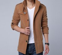 Wholesale 4573 New fashion men woolen coat casual single breasted men jackets outwear winter Coats overcoat