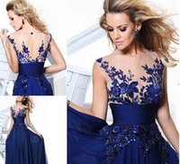 Wholesale 2016 New Tarik Ediz Evening Gowns In Stock Cocktail Homecoming Prom Party dresses Chiffon Royal Blue As Pictures Sheer Lace Back Cheap