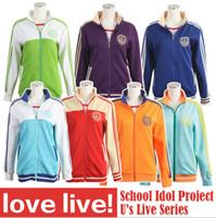 Wholesale LoveLive Love live Sports Wear coat Nozomi Tojo Umi Eli Hanayo Nico Rin Cosplay Hoodie Jackets cotton