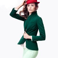 Wholesale British Style Solid Suit Blazer Women Slim Blazers And Jackets Fashion Dark Green Female Casaco Feminino CO