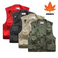 Wholesale Men Outdoor Multi Pocket Vest Travelers Fly Fishing Photography Quick Dry Jacket