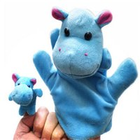 big hippo - set New arrive cute Hippo big hand puppets Hippo small fingers puppet cartoon animal baby plush toy