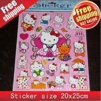 Wholesale DHL Free Mixed New Cartoon Designs kinds Kitty Adhesive Decor Creative Label PVC Sticker paper sheets For Kids