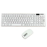 Wholesale Modern Design Pure White Ultra Thin Design GHz Wireless Keyboard Cover Mouse Kit for Desktop Laptop PC Computer