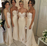 Wholesale Ivory long bridesmaid dresses sweetheart blingbling sequins top sheath prom dresses wedding prom party gowns