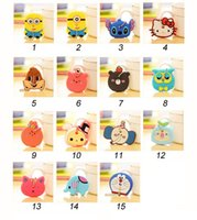Wholesale Cartoon Anime Silicone Cute Hello Kitty Minion Owl Key Cover Key Cap Stitch Kein Key Ring Chain action figure pendant Keyring Collection toy
