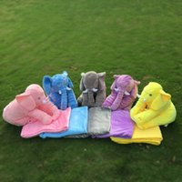 animal bedding material - Blanks Plush Material Animal Elephant Pillow with Plush Blanket Cute Children Room Bedding Decoration Plush Toy Colors DOM106379
