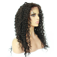 Wholesale 7A Gluess Human Hair Lace Wigs Loose Curly Natural Balck Color Inches Bleached Knots Price Free Shippinng