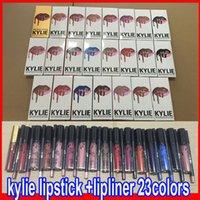 Wholesale KYLIE JENNER LIP KIT lipliner Lipkit Velvetine Liquid Matte Lipstick kits in Red Velvet Makeup Lip Gloss with liner pencil colors in stock