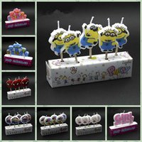 art cake design - 200pcs Happy Birthday Cartoon Candle Cute Decor Party Cake Candle Princess Minions Spider man Car Minnie Creative Candles Designs LJJL86