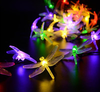 Wholesale Outdoor Dragonfly Solar String Lights ft LED Modes Waterproof Fairy Lighting for Christmas Trees Garden Patio Wedding Party