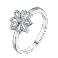 Wholesale Hot Sale Sterling Silver Floral Lace Botanique Rings With Clear CZ Ring Finger For Women Female Gift Fashion Original Jewelry Making