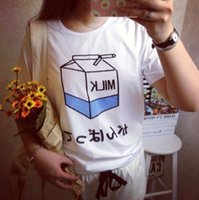 Wholesale Sea Mao H708 Summer Harajuku T Shirt Women Cute Camisetas Mujer Japanese Letters Milk Printed Copule Tees Plus Size