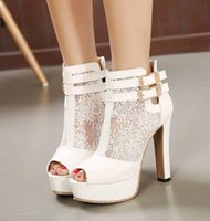 Wholesale Dreamy White Lace Wedding Boots Buckles Thick Heel Platform Peep toe Pumps Sexy Bride Shoes size to