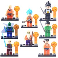 Wholesale 8 piece Dragon Ball Minifigures Building Block Super Heroes Son Goku Vegeta Master Roshi kid Japan Anime Compatible with Birthday for kids