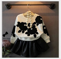 baby leather vest - 2016 Spring Fall Girls Flower Printed Long Sleeve Sweater Leather Short Skirts Sets Korean Style Kids Outfits Baby Girl Clothes