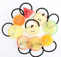 Wholesale Fashion fruit Elastic Hair Bands For Women Girls Ponytail Cute Emoi Hair Tie Headwear Hair Accessories