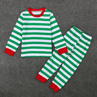 Wholesale Soft Girl Boy Green Striped Christmas Pajamas Red Trim Cotton Winter Nightwear Pajamas Set Sleepwear Girls Toddler Clothes