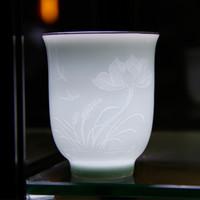 al por mayor el té de hoja de loto-Copa hecha a mano con el grabado de Lotus y hoja Mano de obra de belleza mirar a través del personal de la Copa de luz para el té para el café